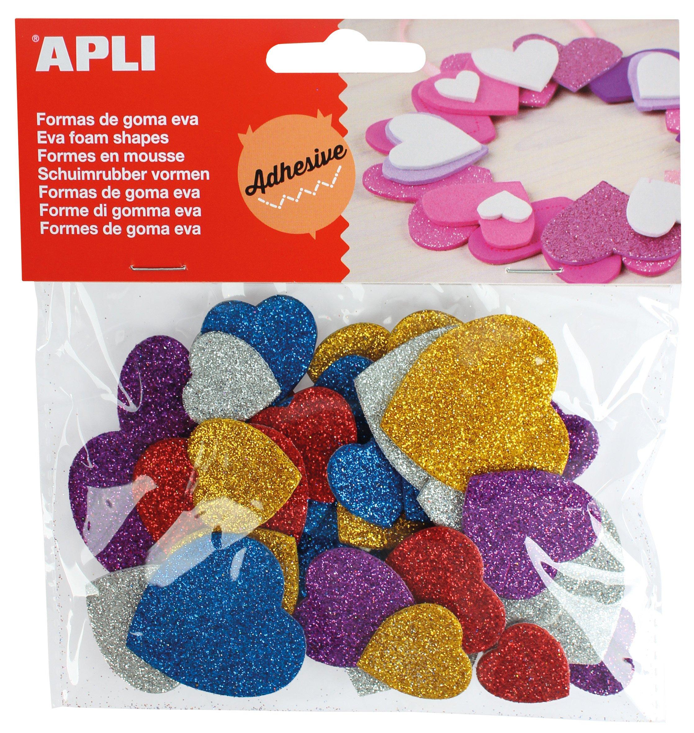 APLI - Bolsa formas EVA adhesiva purpurina formas corazón color, 50 uds: Amazon.es: Oficina y papelería