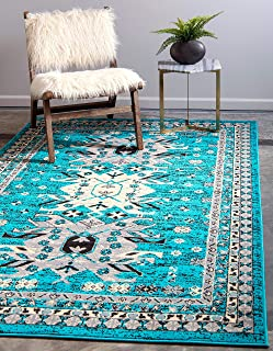 Unique Loom Taftan Collection Geometric Tribal Turquoise Area Rug (4' 0 x 6' 0)