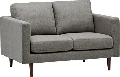 """Amazon Brand – Rivet Revolve Modern Upholstered Loveseat Sofa, 56.3""""W, Grey Weave"""