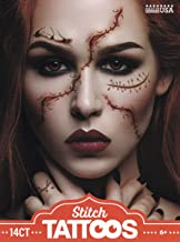 Halloween Realistic Temporary Costume Make Up Face Tattoo Kit Men or Women - (Realistic Stitches) 1 Kit