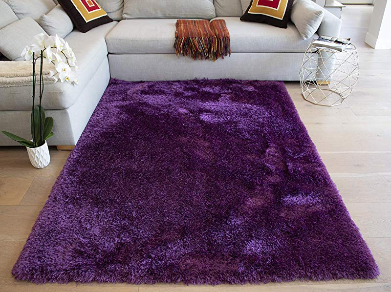 LA Epic Thick Thin Pile Soft Fluffy Furry Hairy Large Plush Contemporary Braided Shag Shaggy 8 Feet By 10 Feet Polyester Made Area Rug Carpet Rug Purple Color