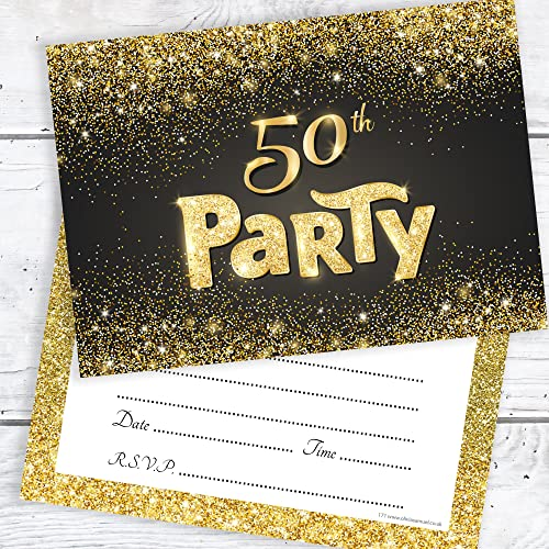 50th invitations birthday gold amazon samuel envelopes olivia effect write ready pack party