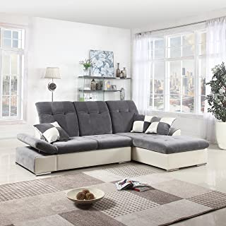 DIVANO ROMA FURNITURE Classic Large Faux Leather and Brush Microfiber L-Shape Sectional Sofa Couch with Chaise Lounge and Adjustable Headrest (Dark Grey/White)