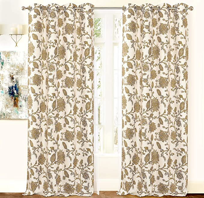 Driftaway Freda Jacobean Floral Linen Blend Lined Thermal Insulated Blackout Room Darkening Grommet Window Curtains 2 Layers 2 Panels Each 52 Inch By 84 Inch Navy Beige Home Kitchen Amazon Com
