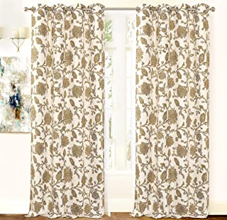 DriftAway Freda Jacobean Floral Linen Blend Lined Thermal Insulated Room Darkening Blackout Grommet Window Curtains 2 Layers 2 Panels Each 50 Inch by 84 Inch Taupe Beige