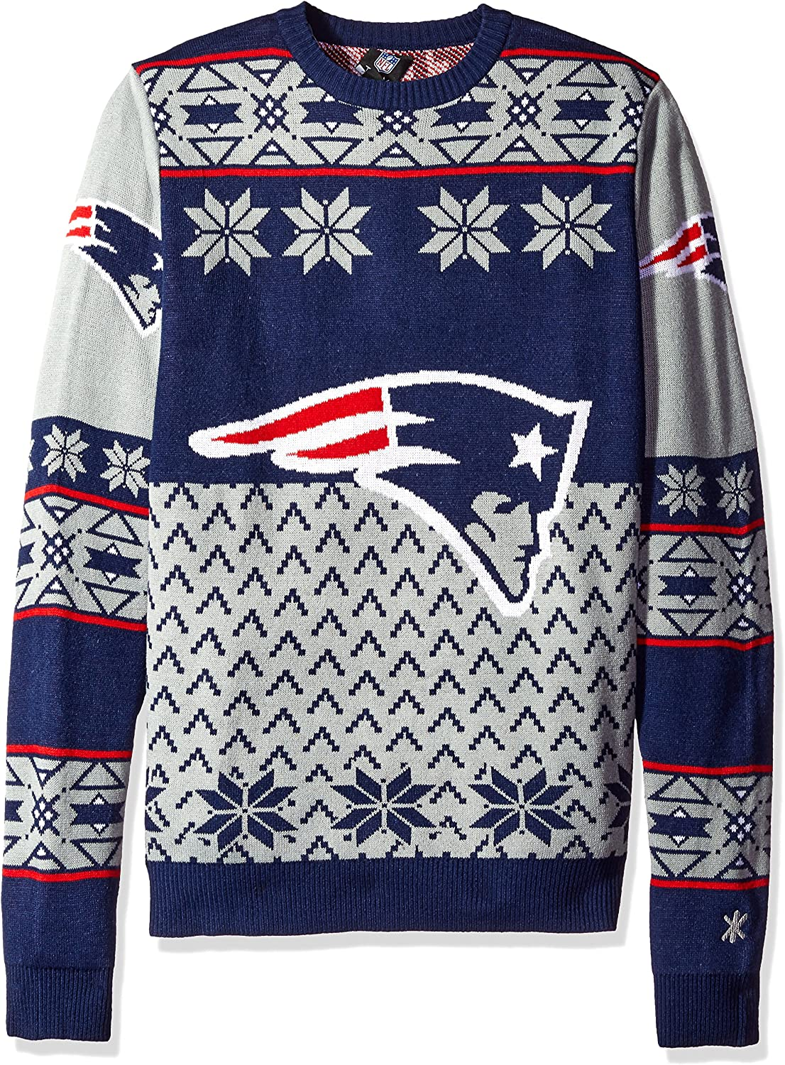 New England Patriots Big Logo Ugly Crew Neck Sweater Double Extra Large