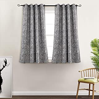 MYSKY HOME Fashion Koru Design Print Thermal Insulated Curtain Drapes Blackout Curtain with Grommet Top for Living Room, 52 by 63 inch, Blue - 1 Panel