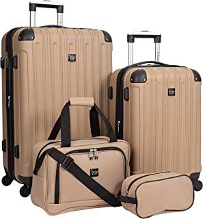 Travelers Club Midtown Hardside 4-Piece Luggage Travel Set, Tan