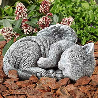 Pure Garden 50-LG1101 Memorial Statue-Sleeping Angel Cat Remembrance Keepsake Sculpture Grave Marker Stone Figurine to Hon...