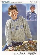 Sirdar Denim Tweed DK Knitting Pattern 4213 Sweaters, Hats, Scarves for Children 1yr-12 yrs