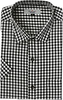 TWIST99 Men's Casual Cotton Plus Size Big Size Checks Chekered Shirt for Mens - Half Sleeves Shirts for Men - Regular fit Shirts for Men (M to 7XL)