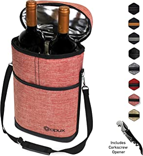 Insulated 2 Bottle Wine Carrier | Wine Tote Bag with Shoulder Strap, Padded Protection, Corkscrew Opener | Portable Wine Cooler Carrying Bag for Travel Picnic - Light Red