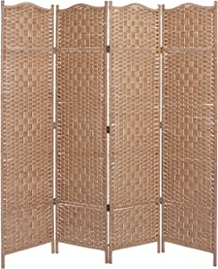 MyGift Freestanding Bamboo Woven Textured 4-Panel Partition Room Divider Folding Privacy Screen, Beige