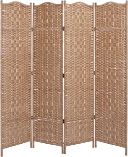 MyGift Freestanding Bamboo Woven Textured 4 Panel Partition Room Divider  Folding Privacy Screen, Beige