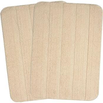 Saral Home Beige Soft Microfiber Anti-Slip Bathmat (Pack of 2, 50x80 cm)