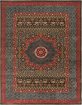 Safavieh Mahal Collection MAH620C Traditional Oriental Non-Shedding Stain Resistant Living Room Bedroom Area Rug, 9' x 12', Navy / Red