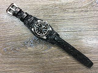 Real Leather cuff watch band | Alligator cuff watch band | Alligator watch band | Leather Cuff watch Strap for Rolex, IWC in 20mm lug
