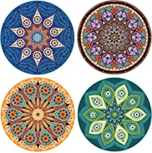 """Enkore Absorbent Ceramic Stone Coaster for Drinks - Mandala, 4 Pack Large 4.3"""" Size with Cork Backing"""