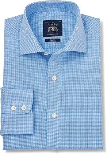 Savile Row Company Hommes's bleu blanc Dobby Slim Fit Shirt - Single Cuff