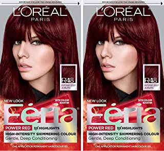 L'Oreal Paris Feria Multi-Faceted Shimmering Permanent Hair Color, R48 Intense Deep Auburn, 2 Count Hair Dye