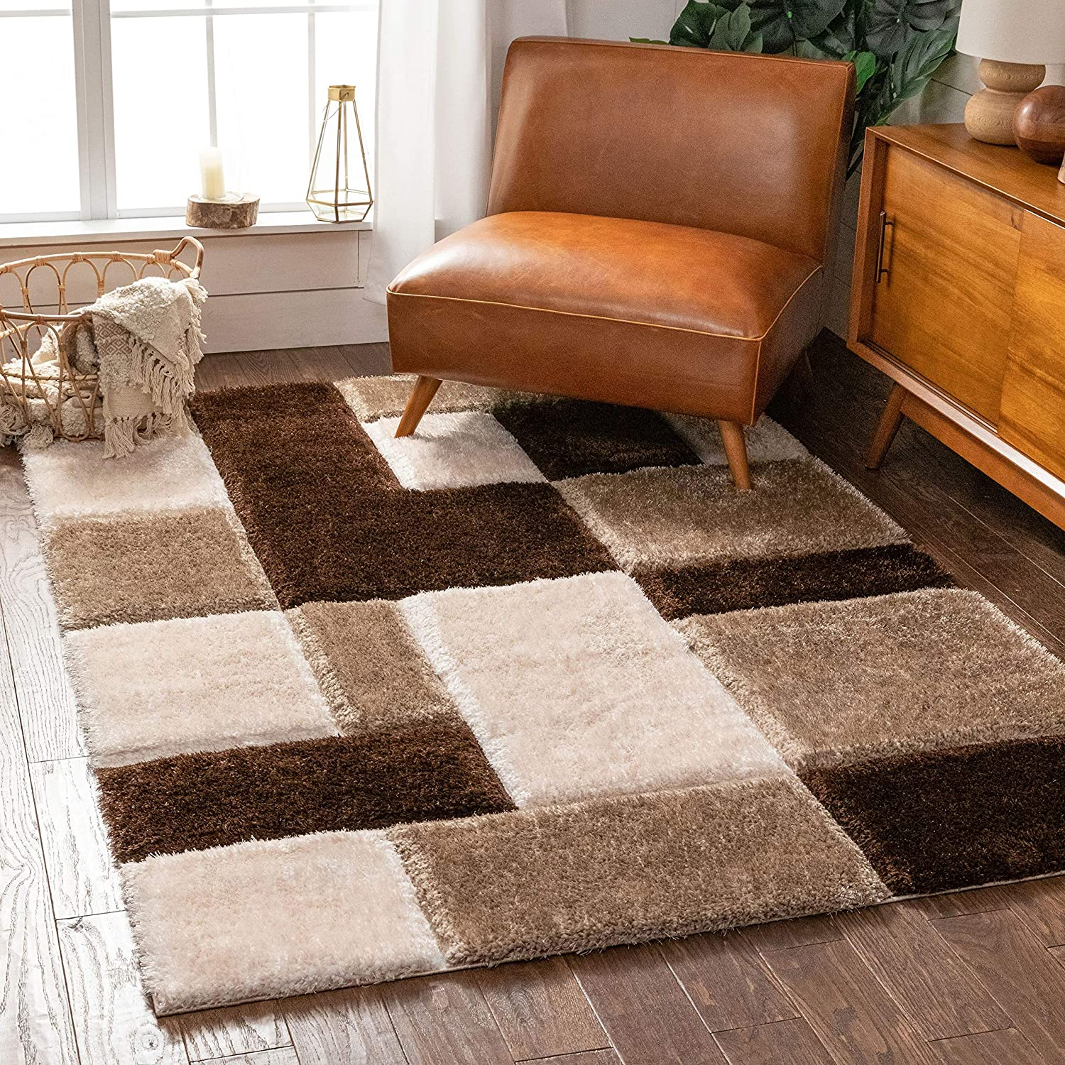 Well Woven Be super welcome Ella Brown Geometric Max 73% OFF Boxes Textur Soft Plush Thick 3D