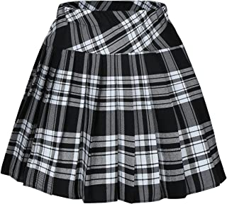 Women`s Short Plaid Elasticated Pleated Skirt School Uniform