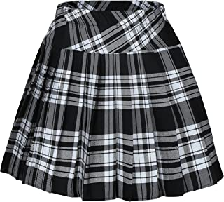 Women`s Short Plaid Elasticated Pleated Skirt School Uniform