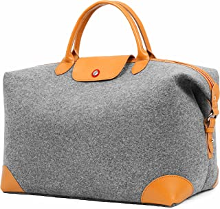 TOPHOME Women Weekend Bag,Oversized Wool Felt Travel Tote Bag with Leather Handle Work Tote for Travel Hiking Long time Outdoor, Grey