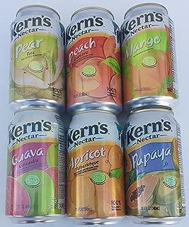 Kern's Nectar Six Flavor Bundle of Six 11.5 FL Oz Cans: Mango, Peach, Papaya, Apricot, Guava, Pear