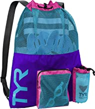 TYR Big Mesh Mummy Backpack Drawstring For Wet Swimming, Gym, and Workout Gear