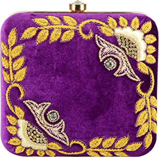 Tooba Women's Leaves Square Box Clutch