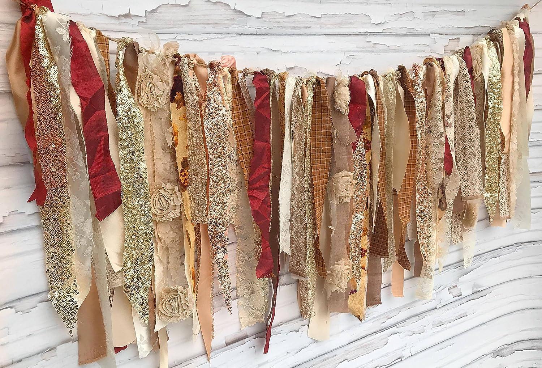 Rose Gold Autumn Popular popular Shabby Chic Rag Tie We Arlington Mall Garland: ~ Shoot Photo