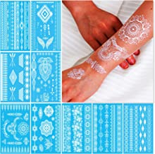 White Henna Temporary Tattoos for Women Teens Girls - 9 Sheets White Lace Fake Stickers - Bride Wedding Cool Tattoo Designs Jewelry Tattoos - 100+ White Flash Realistic Waterproof Transfer