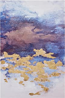 Abstract Blue and Purple Clouds with Gold Leaf Accent on Canvas Wall Art Decor, 24