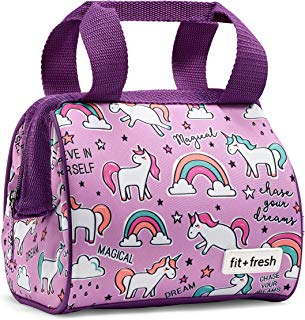Fit & Fresh Riley Insulated Lunch Bag, Stylish, Fun, Colorful, Unicorn Doodle