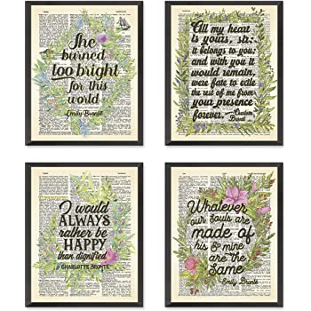Bronte sisters Quote Wall Art Prints, Set of 4, Unframed, Charlotte Bronte, Emily Bronte, Vintage Highlighted Dictionary Page Floral Wall Art Decor Poster Sign, 8x10