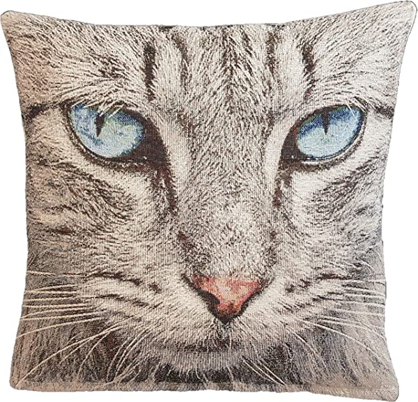 Amber Textile Cat Tapestry Throw Pillow Covers Cases Decorative Cushion Covers Pillowcase Cushion Case For Sofa Couch 18 X18 Inches Cat Blue Eyes