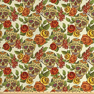 Lunarable Skull Fabric by The Yard, Floral Sugar Skull Design in Vibrant Colors Mexican Day of The Dead Theme, Decorative Fabric for Upholstery and Home Accents, 1 Yard, Yellow Green