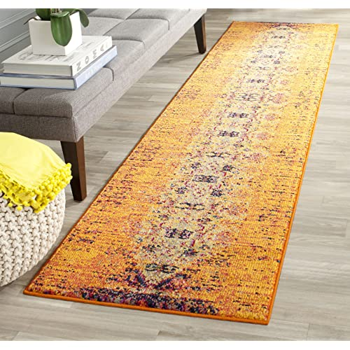 Safavieh Monaco Collection MNC209H Modern Abstract Vibrant Orange and Multi Distressed Runner Rug (2'