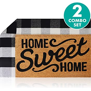 """Sierra Concepts Pure Coco Coir Front Door Welcome Mat Outdoor Rug 30""""x17"""" + Buffalo Plaid Rug Checkered Layered Black and White Floor Combo Set - Non Slip Entryway Indoor Outdoors Mats Home Sweet Home"""