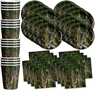 Birthday Galore Hunter Tree Camo Party Supplies Set Plates Napkins Cups Tableware Kit for 16
