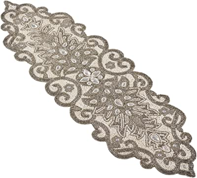"SARO LIFESTYLE Beaded Scroll Motif Design Table Runner, 12"" x 38"", Silver"