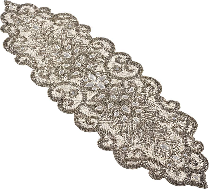 Occasion Gallery Silver 100 Polyester Beaded Scroll Motif Table Runner 12 X 38