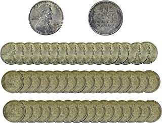 Lincoln Wheat WWII Mixed Steel Penny, 50 US Coins F-XF