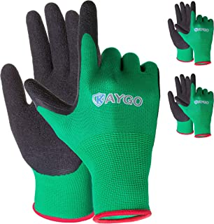 Work Gloves for women and men - 3 Pairs Latex Textured Coated, KAYGO KG13LC,Ideal For Home Improvement, General Purpose, DIY,Gardening,Yard work and Fishing