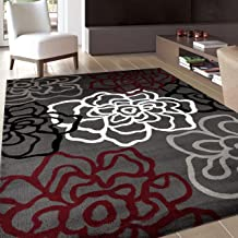 Contemporary Modern Floral Flowers Red/Gray Area Rug 5' 3