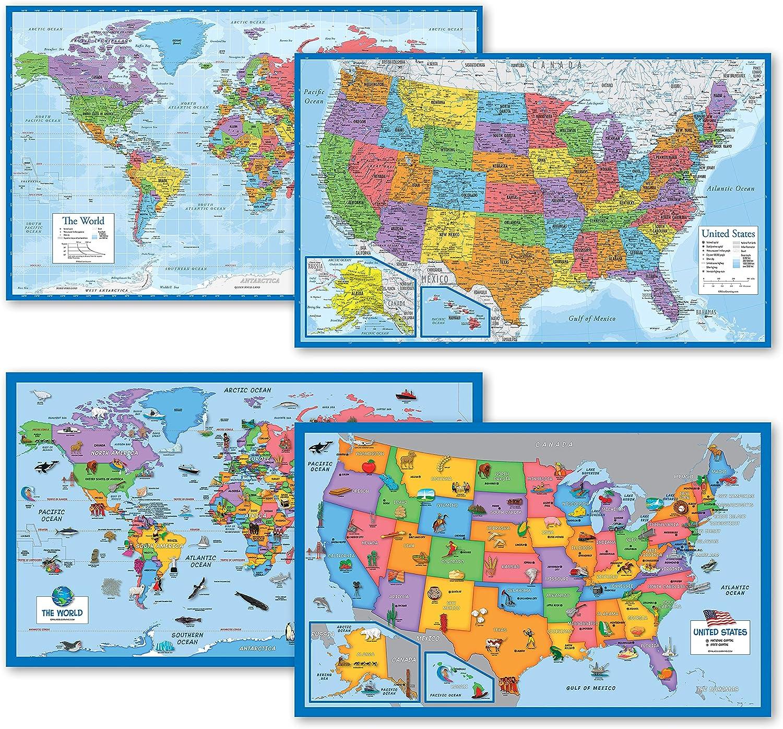 4 Pack - Sale item World USA + Finally popular brand Maps Illustrated Long Blue