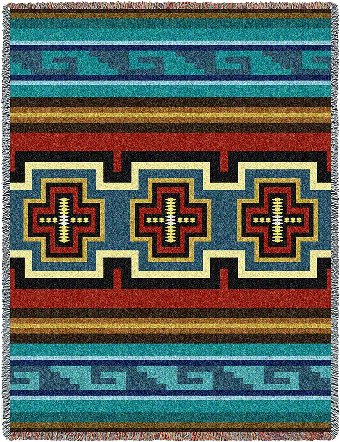 Pure Country Weavers   Sarkoy Southwest Blanket   Woven Tapestry Camp Throw with Fringe Cotton USA 72x54