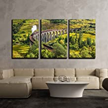 wall26 - 3 Piece Canvas Wall Art - Glenfinnan Railway Viaduct in Scotland with The Jacobite Steam Train Passing Over - Modern Home Decor Stretched and Framed Ready to Hang - 16