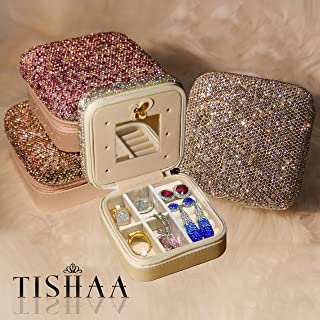 TISHAA Bling Luxury Fancy Diamond Jewelry & Accessory Holder Pouch, Travel Portable PU Leather Organizer Case w Compartments for Jewelry,Hair Pins (Pink)